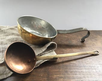 Vintage Small Copper saucepan with an iron handle Copper spoon Small pan Shabby kitchen French kitchen