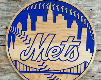New York Mets Wooden Baseball Sign MLB Decor