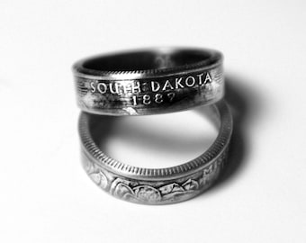 Handcrafted Ring made from a US Quarter - South Dakota - Pick your size