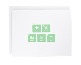 New Baby greeting card, periodic table, baby, geeky, congratulations, green