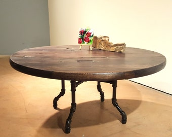 Round Wood Coffee Table, Reclaimed Wood Table, Round Coffee Table, Dark Wood, Rustic Farmhouse Table, Low Table, Industrial Pipe Leg Table