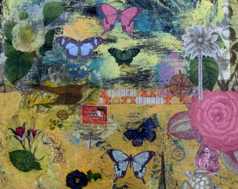 """Yellow Abstract Mixed Media original painting on canvas, 18"""" x 18"""",  Collage, Butterflies, Eiffel Tower, French Country Decor, Wall Art"""