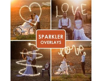 Sparkler Photoshop Overlays - Wedding Sparklers, Long Exposure, Sparklers Overlays, Photo Overlays, Lightpainting, Firework Overlays