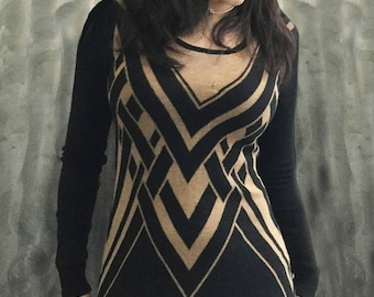 1920s Art Deco Black and Gold Longsleeve Dress