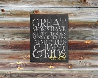 Great Moms - Happy Kids Digital Chalkboard Print