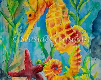 Seahorse Wall Decor, Seahorse Decor, Sea Horse Art, Sea Horse Wall Decor, Beach House Decor, Seahorse Print, Tropical Print, Tropical Art