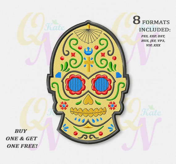 Bogo Free C 3po Sugar Skull Applique Embroidery Design Star Wars