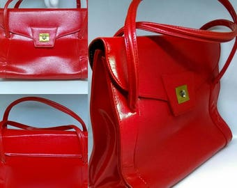 1960's Huge Vibrant Red Larger Sized Kelly Bag With Envelope Fold Over Design - Good Condition - Only 25 Pounds!