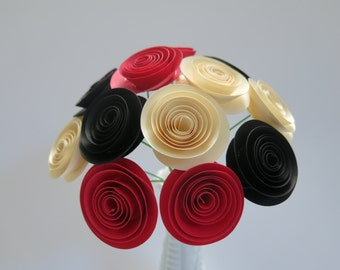 """Black, Red and Ivory paper 1.5"""" flowers for vase, most popular wedding centerpiece, Best selling party supply, Bridal shower decoration"""