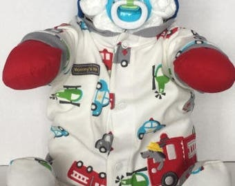 Fire Truck diaper baby boy 3-6 month sitting up life-like and super cute and unique baby shower gift or centerpiece