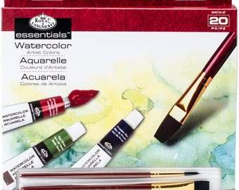 Essentials Watercolor Paint with 2 Brushes - 20 Pce Set - Great Watercolor Starter Set