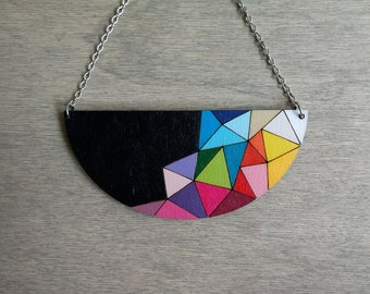 Colorful necklace, rainbow pendant, wood necklace, pendant necklace, colorful jewelry, geometric jewelry, rainbow jewelry, gift for her