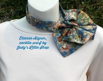 Etienne Aigner Ladies Necktie necklace, ladies ascot scarflette collar, Blue green Necktie scarf, Up-cycled Fashion accessory
