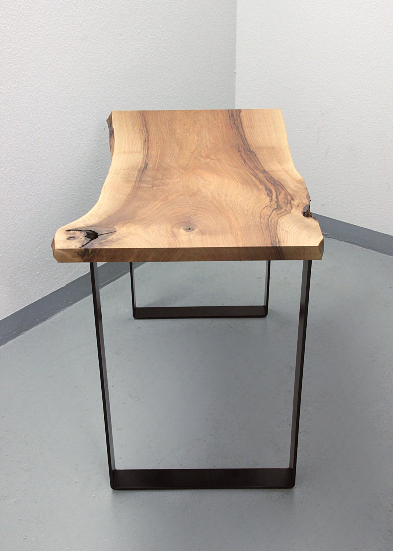 Live Edge Walnut Laptop Desk On U Form Steel Legs