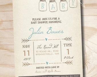 Mason Jar Invitation Baby Shower Invitation - Printable digital file or printed invitations