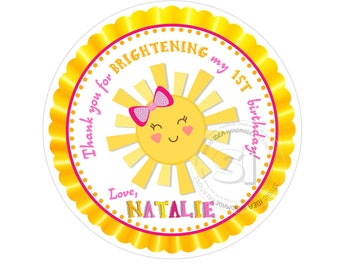 """Custom Printable Sunshine Birthday 2.5"""" Thank you Tags-Personalized Birthday 2.5 inches Tags- Stickers- You are my Sunshine Favor Tags"""