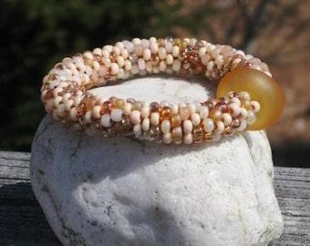 Sand bead crochet bracelet......FREE SHIPPING.......................