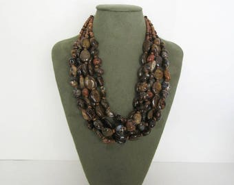 Bronzite Necklace, Petrified Wood Opal Necklace, Bronzite and Petrified Wood Opal Necklace, Statement Necklace, Free Shipping