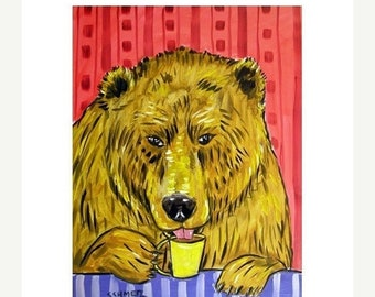 25% off Bear at the Coffee Shop Animal Art Print