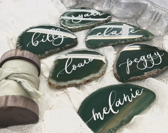 """Agate Slices  Wedding Calligraphy Place Cards Green 2.5""""-3.5""""