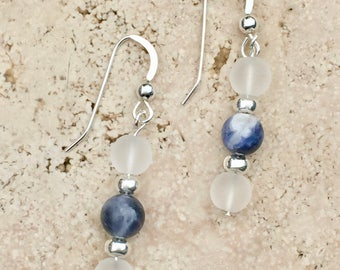 Sterling Silver Earrings with Sodalite Stone and Quartz