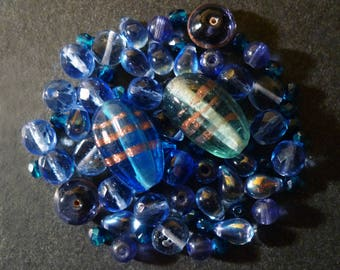 Indian and various shapes blue Czech glass beads