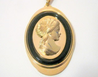 Vintage Avon Gold And Black Cameo Pendant Necklace, Fashion Jewelry, Gift for Her