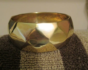 Vintage Brass Wide Cuff Bracelet/Diamond Design