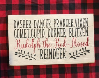 Reindeer names – Rudolph the red nose reindeer – distressed painted wood sign