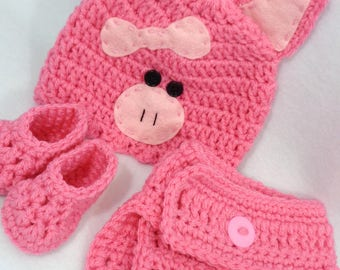 Little Pink Pig Cap with Diaper Cover and Booties, Piggy Baby Hat, Halloween Farm Animal Hat, MADE TO ORDER by Charlene, Gift for Baby Girl