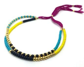 Friendship Bracelet / Adjustable Bracelet / Cord Bracelet / Beaded Bracelet / Southwestern Jewelry / Boho Jewelry / Layering  Bracelet