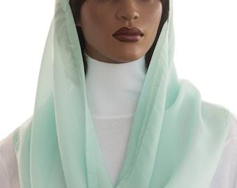 Kaatnu Veil™ Mint Green Chiffon Veil Christian Vei Liturgical Catholic Veil Headcovering Chapel Mass Veil Prayer Worship Veil Handmade
