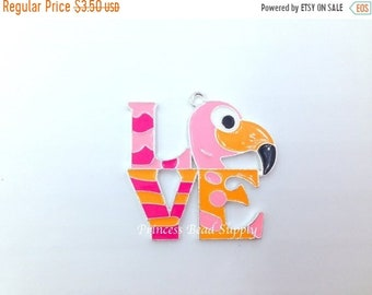 SALE Pink Flamingo Pendant for Chunky Necklaces, Pink Flamingo Bird Pendant, LOVE Flamingo Pendant, Chunky Necklace Pendant