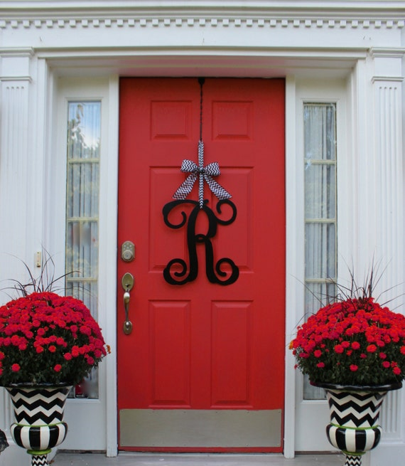 Monogram Front Door Decoration: Monogram Wreath Front Door Wreath Monogram Decoration