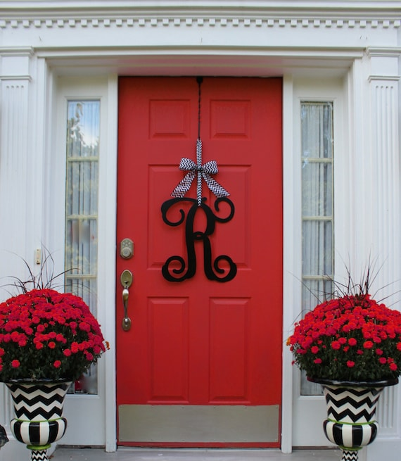 & Monogram Wreath Front Door Wreath Monogram Decoration