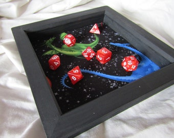 Dice Rolling Tray - Dragon Print || Tabletop Gaming RPG Wooden Dice Tray || Dungeons & Dragons DND || Pathfinder || Geek Gift ||