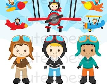 Pilot Clipart, Little pilot Clipart,  Airplane Clipart, Aviator Clipart