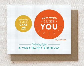Funny Birthday Card, Best Friend Birthday Card, Card for Boyfriend, Birthday Card for Him for Her, Unique Birthday Card - Cake vs. You
