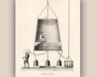 Nautical Prints Haley diving Bell Vintage illustration diving device print, Marine and  Nautical art print,  Coastal Living, Underwater