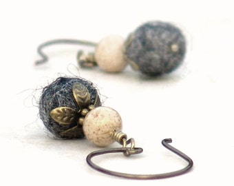 Fall Winter Earrings Gray Charcoal Ivory Drop Gemstone French Wire