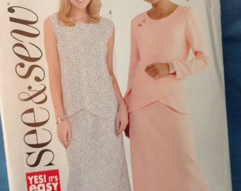 See & Sew Pattern 4424, Top and Skirt Pattern, Easy Sew Pattern, Sizes 8 10 12, Uncut Pattern