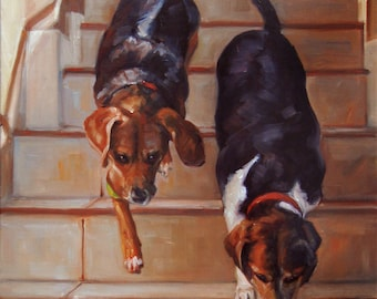 """StairMasters, CUSTOM Pet Portrait Oil Painting by puci, 10x12"""" (2 pets)"""