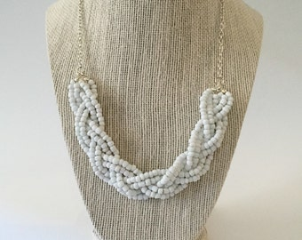 White Beaded Braid Necklace