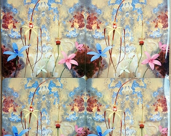 Drink Coasters - Silky Blue Orchid, Pink enamel & Yallingup Orchids on Rusty Metal, dinner party, holiday house, native orchids
