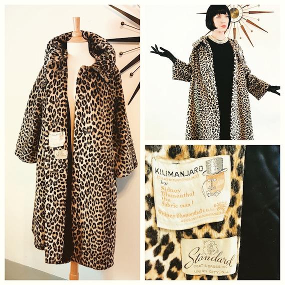SOLD-- 50s Leopard Coat, by KILIMANJARO, Leopard print coat, Vintage 1960s leopard coat, 60s Trapeze Coat, Leopard Swing Coat