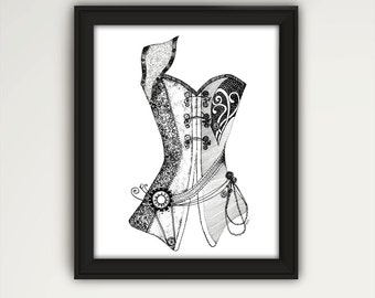 Steampunk Corset, Steampunk Art, Fantasy Art, Steampunk Costume, Black and White Art, Leather Corset, Wall Art, Bedroom Wall Decor, P1041