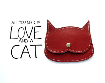 all you need is love and a cat-purse , small leather cat pouch, valentine day cat lover gift idea, crazycatlady gift