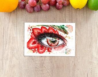 Strawberry Eye - Fine Art Print Watercolor