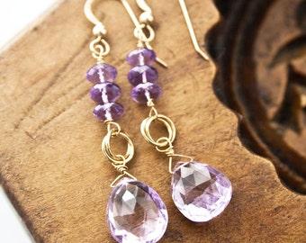 Amethyst Earrings, February Birthstone, February Birthday, Purple Earrings