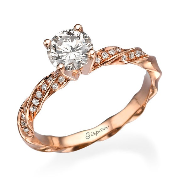 Rose Gold Engagement Ring In 14k Gold With Diamonds And Spiral